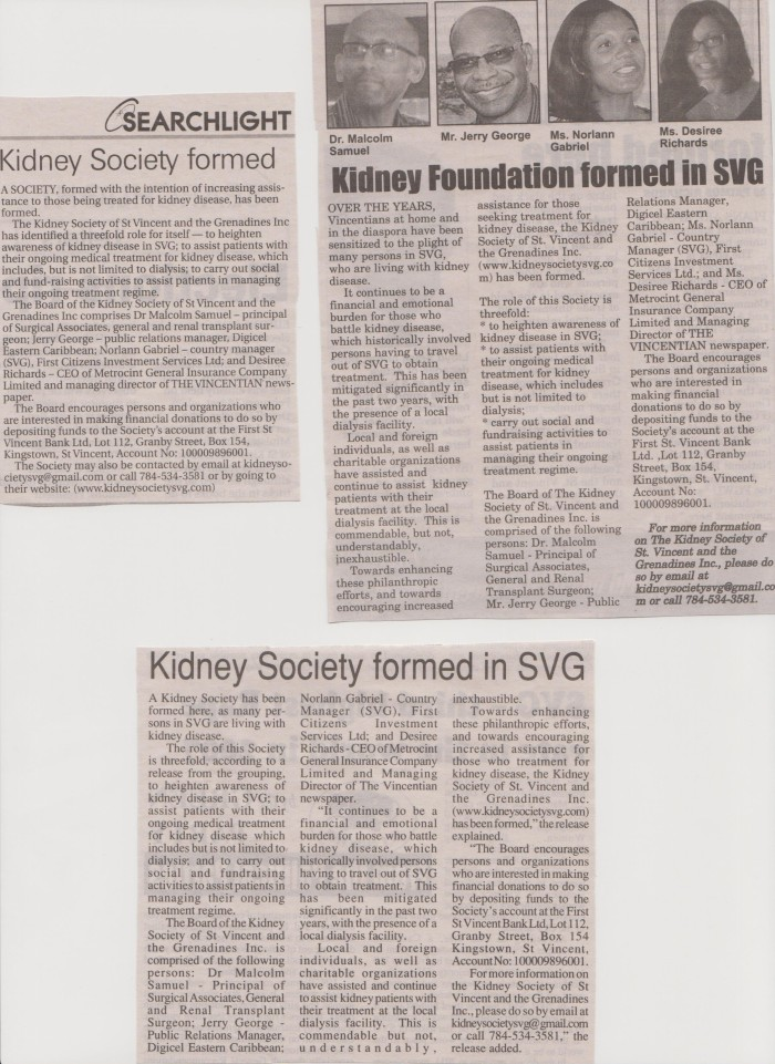 Press Coverage - Kidney Society of SVG March 2015 001