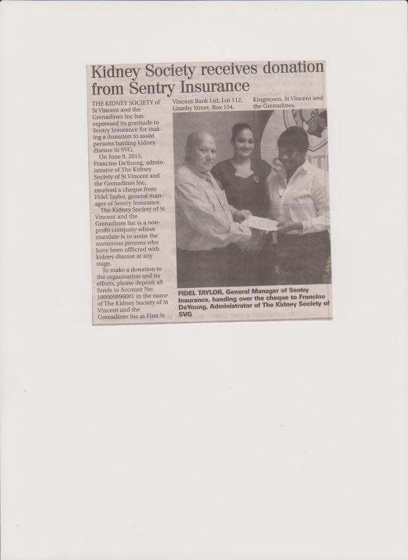 Sentry Donates to The Kidney Society of SVG 001