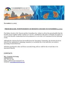 PR - Postponement of Benefit Concert November 2015