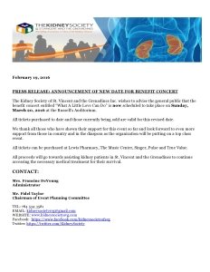 Press Release New Date - Feb 19, 2016